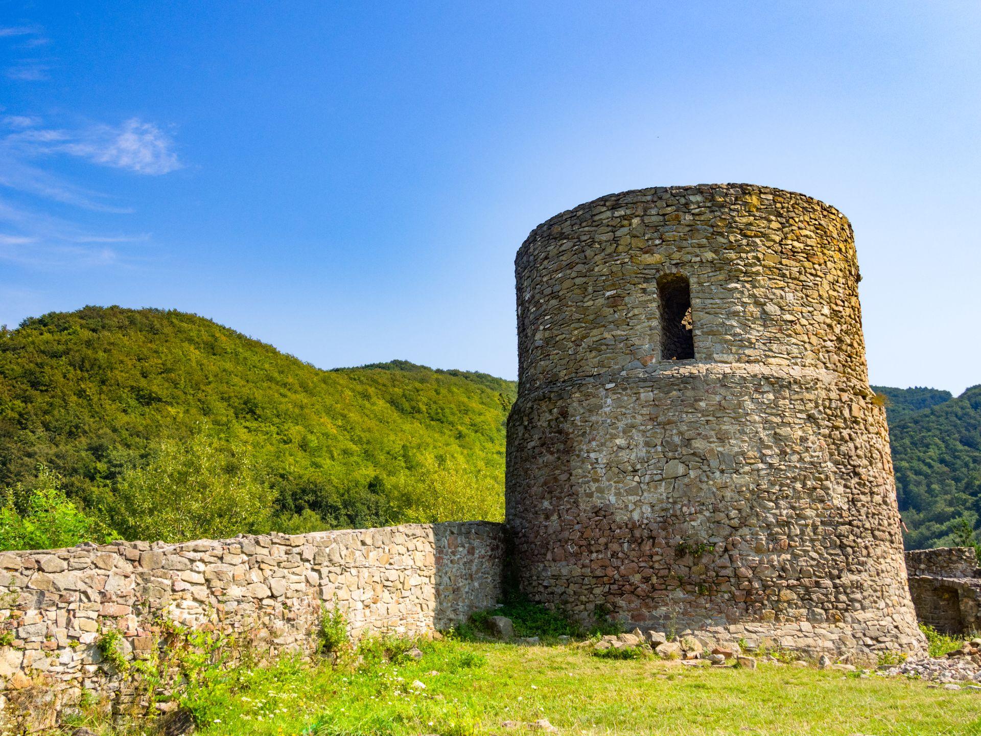 Castle Ruins in Rytro in summer. Beskids Mountains, Poland.